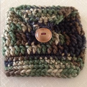 Camouflage Mini Buttoned Handmade Crocheted Pouch